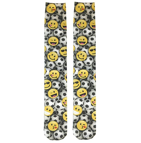 Sockalicious by Confetti and Friends Girl's Fun Knee High Socks - Emoji Soccer (Soccer Girl)