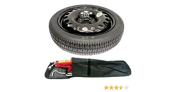 43 cm TheWheelShop Juego de herramientas con bolsa y rueda de repuesto de tama/ño reducido de 17 pulgadas para Nissan QASHQAI de/2007 a 2013