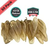 Ezlis Jumbo Cow Ears for Dogs 50 Pack - Full Thick Large Cow Ears Chews - Premium Bulk Beef Treats - Supports Dog Dental Health - 100% All-Natural Whole Beef Ears USDA & FDA Certified