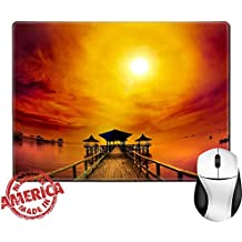 """Luxlady Natural Rubber Mouse Pad/Mat with Stitched Edges 9.8"""" x 7.9"""" IMAGE ID: 34419406 Exotic wooden pier and ocean under cloudy sunrise Taken at Kenjeran beach Surabaya east Java Indonesia"""