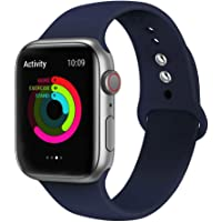 Ontube Bands Compatible with Apple Watch,Soft Silicone Adjustable Sport Replacement Straps for iWatch Series 4/3/2/1 (42MM/44MM, Midnight Blue)