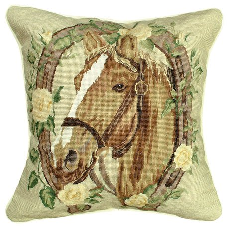 Deluxe Pillows Horse & Yellow Roses 14 x 14 inches needlepoint pillow - Horse Needlepoint Pillow