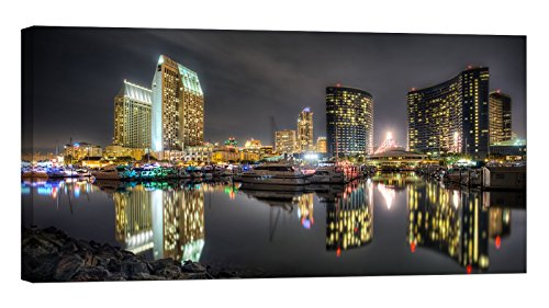 LightFairy Glow in The Dark Canvas Painting - Stretched and Framed Giclee Wall Art Print - City Urban San Diego - Master Bedroom Living Room Large Décor - 46 x 24 inch