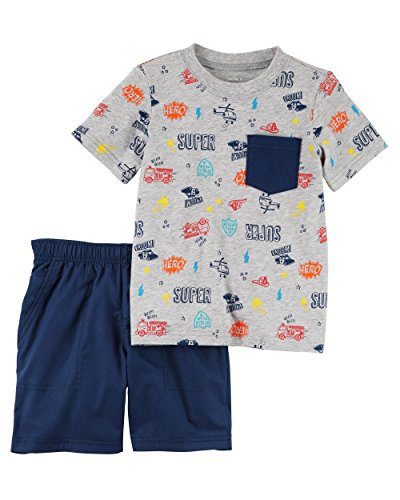Carter's Boys' Newborn-5T 2 Piece Short Sleeve Sunglass Pocket Polo and French Terry Shorts Set (6 Months, Navy/Super Hero)