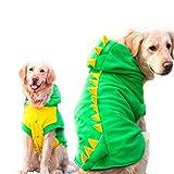 FLAdorepet Funny Halloween Big Large Dog Dinosaur Costume Jacket Coat Warm Fleece Winter Golden Retriever Pitbull Dog Clothes Hoodie (3XL, Green)