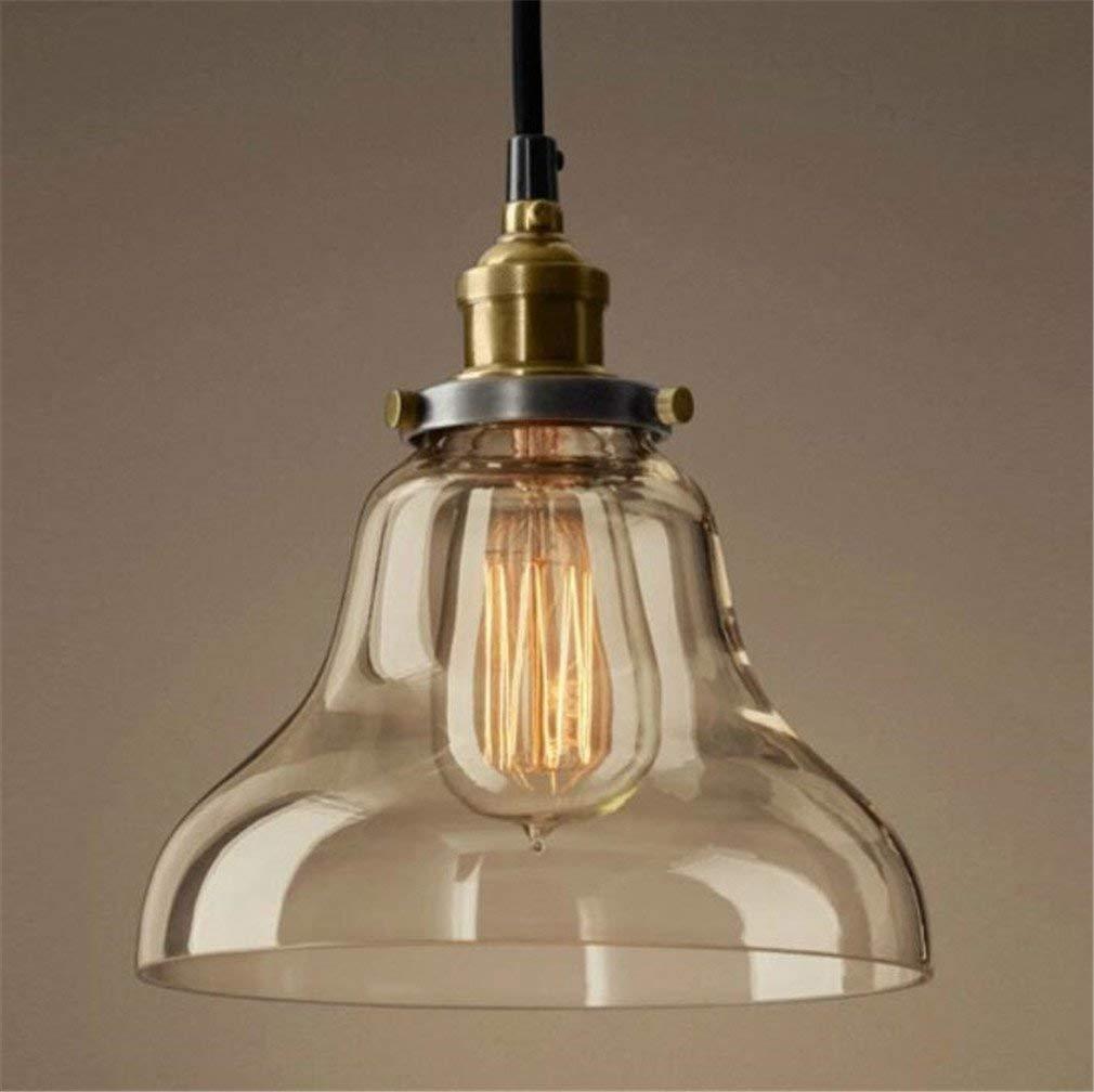 Eeayyygch Deckenleuchte Kronleuchter Retro rustikalen Lampenschirm Transparente Bernstein Farbe Kupfer Basis, 20  25 cm (Farbe   -, Größe   -)