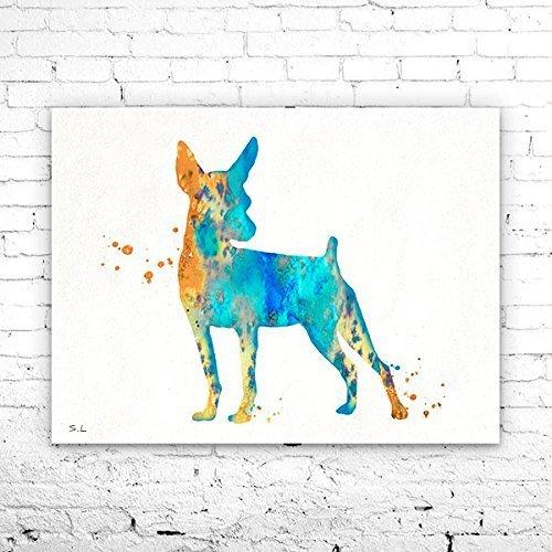 Miniature Pinscher 2 Watercolor Print, Miniature Pinscher Art, animal silhouette, dog silhouette, dog art, Min Pin art, dog poster