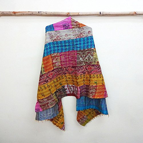 Silk Kantha Scarf Neck Wrap Stole Dupatta Hand Quilted Women Shawl Stitched