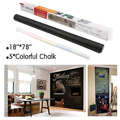 Alinshi Sticky Chalkboard Paper 18x78 Inches (Black)