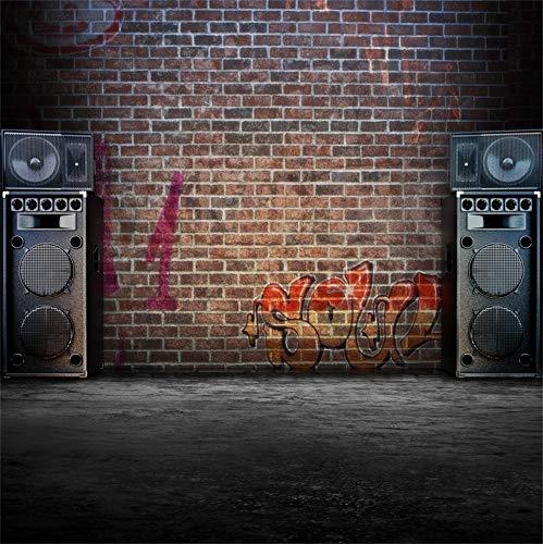Series Speaker Concert Club (Laeacco Vinyl 7x7ft Retro Grunge Graffiti Brick Wall Photography Background Vintage Music Speakers Sound Rustic Dirty Floor Backdrops Rock Concert Decoration Personal Pertrait Shooting Studio Prop)
