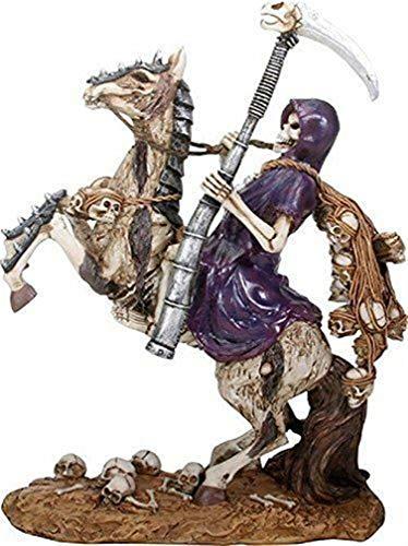 (Ky & Co YK Santa Muerte Saint Death Skeleton Grim Reaper in Purple Riding Horse Figurine)