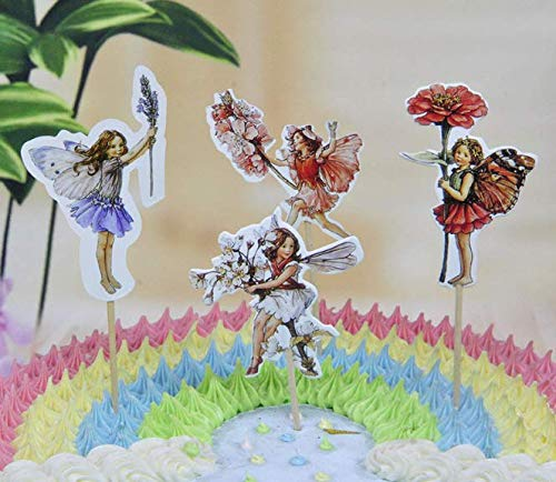24x Cupcake Topper Picks -flower fairy Themed Cupcake Toppers For Kids Party