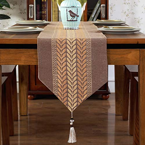 (ZUOANCHEN Table Runners Foyer Table, Summer Parties and Everyday Use European Embroidered Leaf Tassel Pendant Bed Tail/TV Cabinet Table Cloth. (Color : Coffee Color, Size : 33210cm))