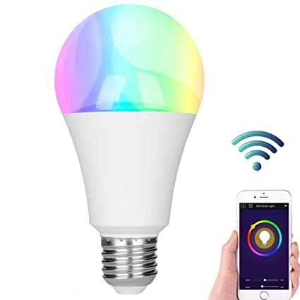 Bombilla LED inteligente, Wi-Fi E27 Bombillas de cambio de color RGBW Dimmable,