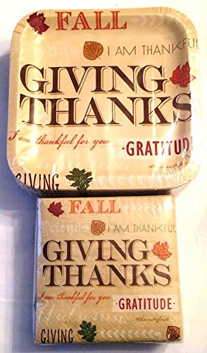 Give Giving Thanks Thanksgiving Dinnerware Kit Bundle 50 Disposable Paper Square DESSERT or APPETIZER Plates and Dessert or Appetizer Napkins 50 of Each