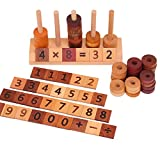 Agirlgle Wooden Montessori Educational Toy for Kids Mathematics Math Toys, Counting Toys Number Blocks Shape Sorter Number Early Preschool Teaching Tool Toddler Learning Toys for Age 2 up