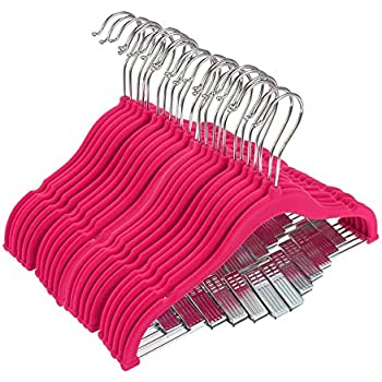 24 Hot Pink Velvet Baby Clothes Hangers - Ultra Thin No Slip Nursery Hangers With Clips For Baby, Toddlers, Kids, Children - 12""