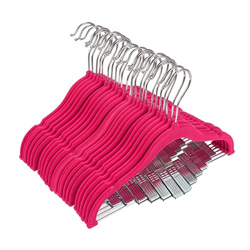 24 Hot Pink Velvet Baby Clothes Hangers - Ultra Thin No Slip Nursery Hangers With Clips For Baby, Toddlers, Kids, Children - 12