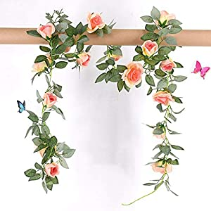 GSD2FF 1 Pcs Silk Roses Vine with Green Leaves for Home Wedding Decoration Fake Leaf DIY Hanging Garland Artificial Flowers 42
