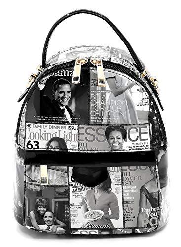 Fashion Michelle Glossy Backpack Cover Collage White black Obama Backpack 1 Magazine Handbag wxIqI06n1r
