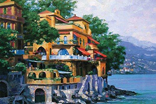 HeritageArtDecor Portofino Villa - Fine Art Print on Canvas Home Decor Print 18 x 12 Inch - Home Decor Wall Art Painting Canvas Print ONLY -NO Frame