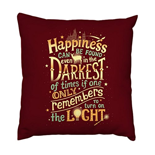 AnFuK Happiness Throw Pillowcase Square Pillow Cover 18x18 Inch