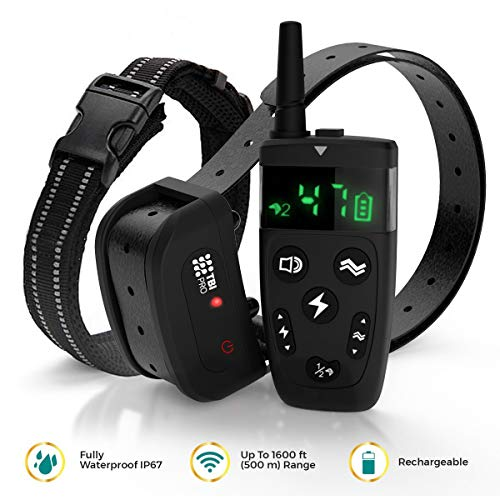 - All-New 2019 Dog Training Collar with Remote | Long Range 1600', Shock, Vibration Control, Rechargeable & Ipx7 Waterproof | E-Collar Shock Collar for Dogs Small, Medium, Large Size, All Breeds