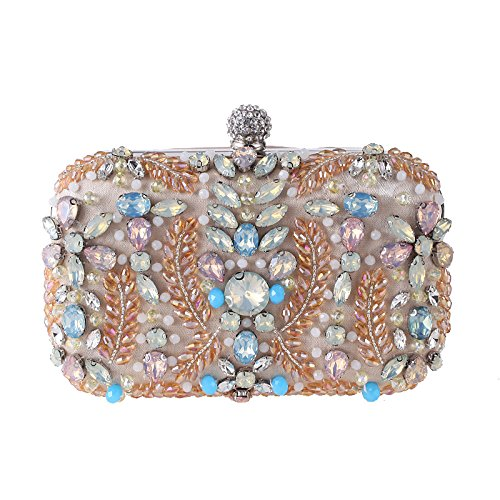 Diamond Beaded Embroidery Apricot Package Evening Prom Womens Shimmer Shoulder Clutch Handbag for Bag Wedding Bag Elegant ZqIUEt