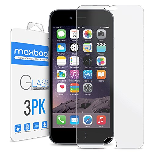 iPhone 6 Plus Screen Protector, Maxboost (3-Pack) Tempered Glass Screen Protectors for Apple iPhone 6 Plus Phone [HD Clarity] [Case Friendly] [Easy Install] (3 Pack)
