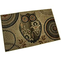 Zeckos Synthetic Area Rugs Pale Brown Bohemian Owl 36 X 22 Inch Retro Throw Rug 36 X 22 X 0.25 Inches Brown
