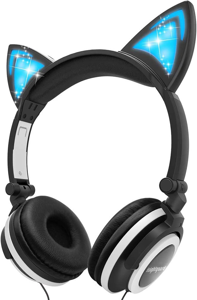 Isightguard Kids Headphones, Wired Headphones On Ear, Cat Ear Headphones with LED for Girls, 3.5mm Audio Jack for Cell Phone (Black)