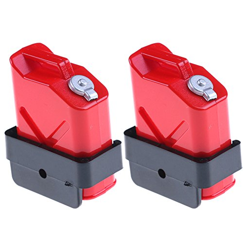 RONSHIN Lightweight Portable 1:10 Scale Mini Fuel Tank RC Rock Crawler Accessory for Axial Wraith SCX10 90046 RC4WD D90 TRX4P 2PCS/Set Red