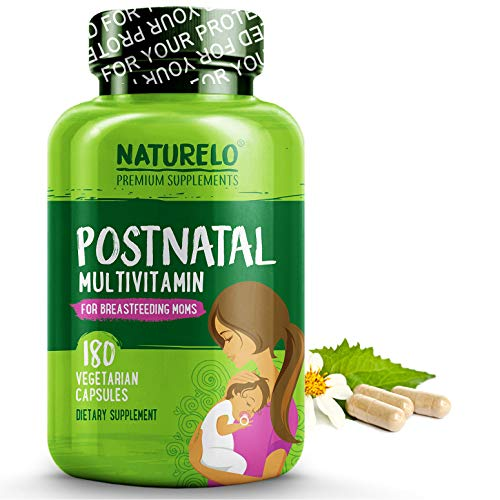 (NATURELO Post Natal Multivitamin - Whole Food Postnatal Supplement for Breastfeeding Women - Organic Herbs to Boost Milk Supply - Vitamin D, Folate, Calcium - Best for Nursing Mother & Baby - 180 Caps)