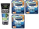 Gillette Body Non Foaming Shave Gel for Men, 5.9 Fl Oz + Fusion Proglide Refill Blades 8 Ct (3 Pack) + FREE Luxury Luffa Loofah Bath Sponge On A Rope, Color May Vary