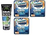 Gillette Body Non Foaming Shave Gel for Men, 5.9 Fl Oz + Fusion Proglide Refill Blades 8 Ct (3 Pack) + FREE Assorted Purse Kit/Cosmetic Bag Bonus Gift