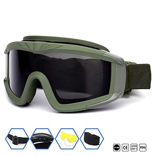 Outdoor Sports Military Airsoft Tactical Goggles with 3 Interchangable Lens Impact resistance Hunting Eyewear, UV400 Protection Shooting Glasses for Men Women Motorcycle Riding Wargame Paintball Olive