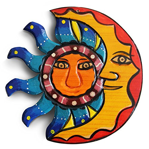Sun and Moon Hanging Set. Mexican Home Decor, Outdoor Wall Decor and Wood Decor for Summer House, Beach Decor, 8.25in. Garden, Living Room, Fireplace, Outdoor Home Decoration, Handmade Art. (Art Me Near Sculptures)