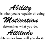Ability is what you're capable of doing. Motivation determines what you do. Attitude determines how well you do it inspirational wall quotes sayings vinyl decals art