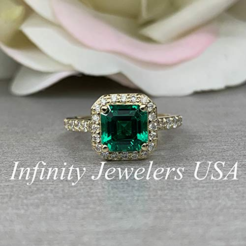 Asscher Cut Engagement Ring/Diamond Halo Ring/Emerald and Moissanite Ring / 14k Yellow Gold / #6255 (Asscher Vs2 Ring)