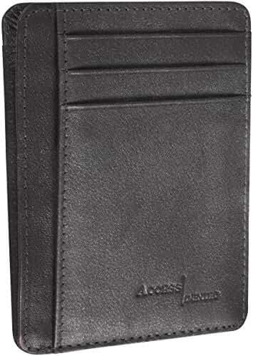 Access Denied RFID Blocking Front Pocket Leather Wallet Mini Slim Card Holder