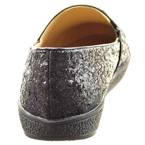 mujer Sopily Moda Tobillo de brillante Tacón Talón CM patentes brillantes Negro Bailarinas 2 ancho Zapatillas Xwrxafqw