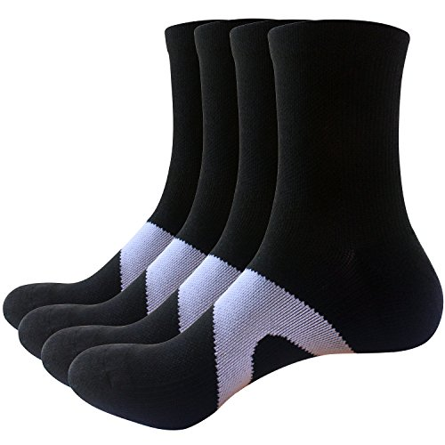 Areke Mens Cotton Casual Crew Socks, Sport Mid Calf Atheltic Dress Soxs Color 4Pack Black Size US Shoe Size - All Season Mid Calf Sock
