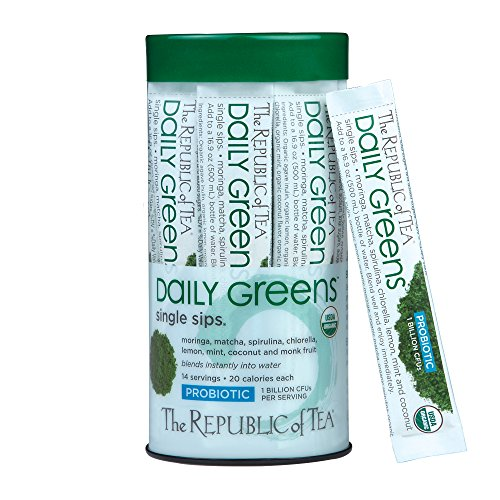 Republic Of Tea, Sips Daily Greens Probiotic Organic, 14 Count