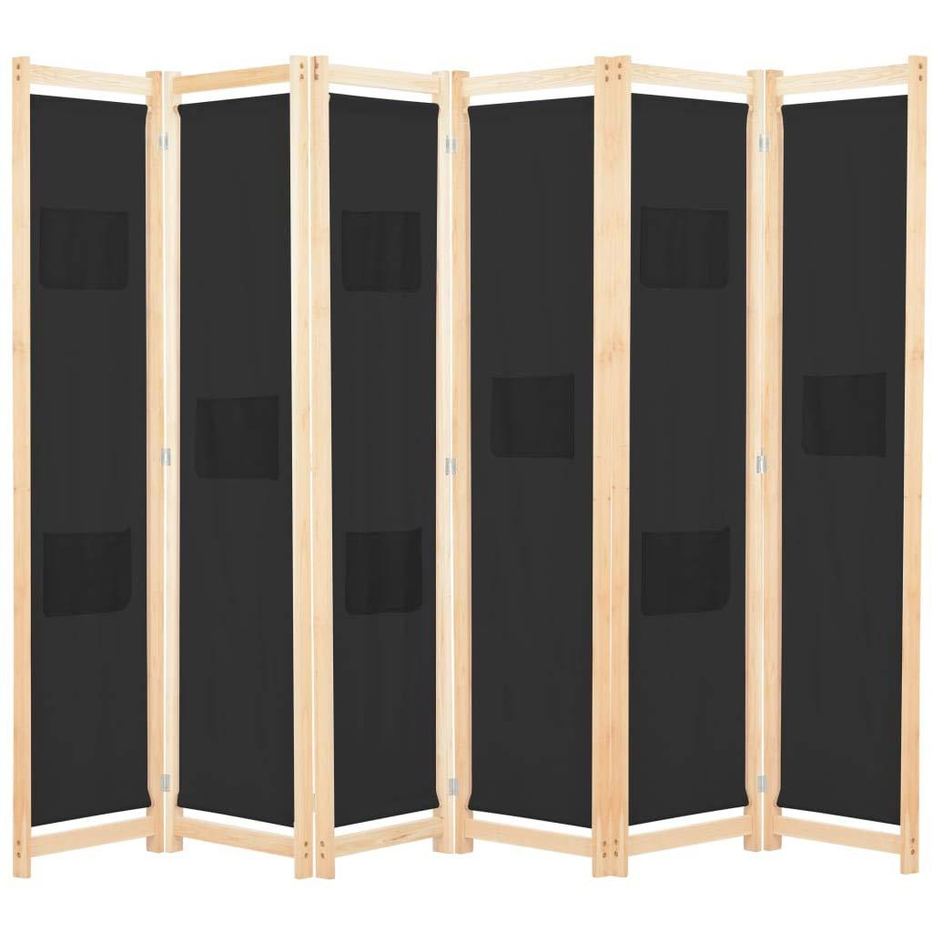 Festnight Biombo Divisor Biombo Separador con 6 Paneles Jacinto de Agua Negro 240 x 170 x 4 cm