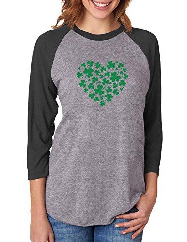 Irish Green Clovers Heart St. Patrick's 3/4 Women Sleeve Baseball Jersey Shirt XX-Large Black/Gray