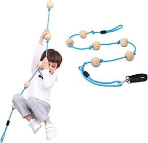 YKB Kids Climbing Rope Tree Swing with Wooden Balls,Playground Swing Set Accessories Outdoor for Kids,Trees House Swing Outside Playset Toys for Indoor/Outdoor/Playground/Home/Tree/Backyard(Blue)