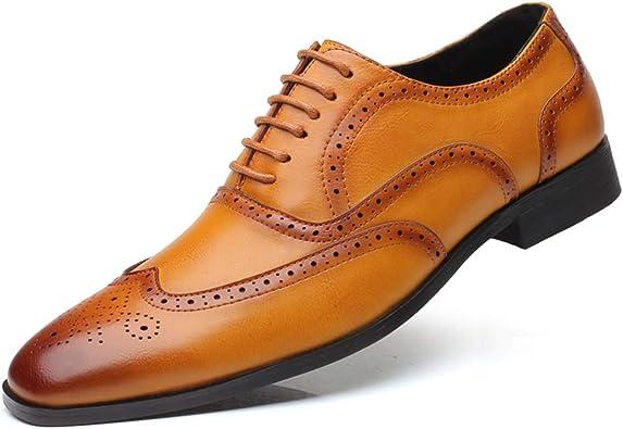 Zapatos Oxford Hombres Brogue Zapatos de Cordones Vestir Derby Cuero Mocasines Negocios Boda Oficina Calzado Negro Marrón Amarillo 38-48: Amazon.es: Zapatos y complementos