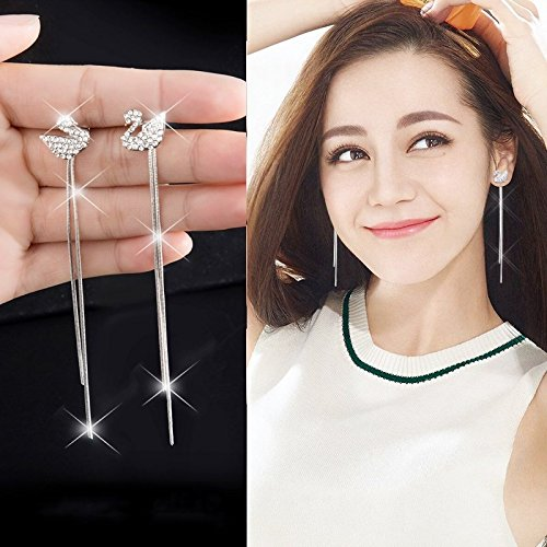 usongs Every day special swan pearl ear wire earrings earrings women girls long section circle tassel earrings earrings earrings women girls elegant