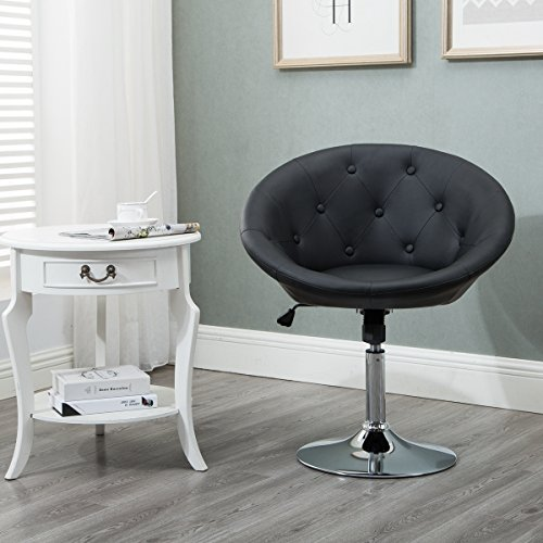 (Round Tufted Swiviel Chair, Luxury Leather Contemporary Back Adjustable Tilt Lounge Accent Chair (Black))