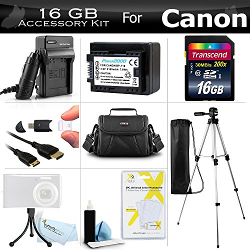 16GB Accessory Kit For Canon VIXIA HF R800 HF R80 HF R82 HF R700, HF R72, HF R70 Digital Camcorder Includes 16GB High Speed SD Memory Card + Replacement BP-718 (150x High Speed Sd Card)